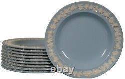 10 Wedgwood Embossed Queensware Jasperware Lavender Blue Bread shell Plates 6