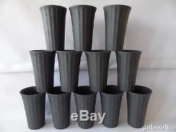 12 x Wedgwood Black Basalt Jasperware Engine Turned Night & Day Beakers 4.75