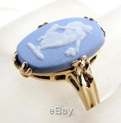 14K Gold Wedgwood Blue Jasperware Cameo Ring Vintage Size 5.5 Made in England