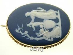 14ct gold Wedgwood Jasperware cameo brooch pendant Achilles greek myth