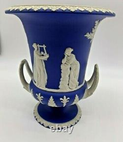 1850's Wedgwood Pair of Large Blue & White Twin Handled Pedestal Urn/Vases
