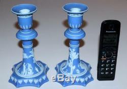 1867 Pair Wedgwood NeoClassical Blue Jasperware Candlesticks 7 7/8 Tall Rare