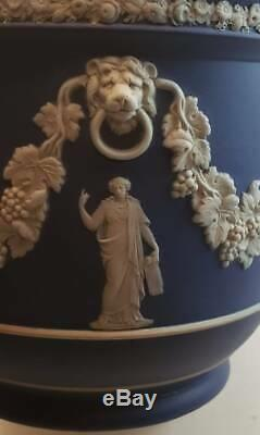 1890's Wedgwood England Cobalt Blue Jasperware Jardiniere Planter Vines Lions