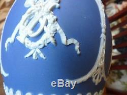 1891 Antique Wedgwood Deep Cobalt Blue Jasperware Porcelain Handled Pitcher EX