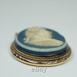 18th Century Miniature Wedgwood and Bentley Blue Jasperware Portrait Pendant