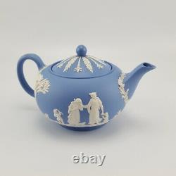 1950s WEDGWOOD Blue Jasperware Large Teapot Milk Jug Lidded Sugar Bowl VGC
