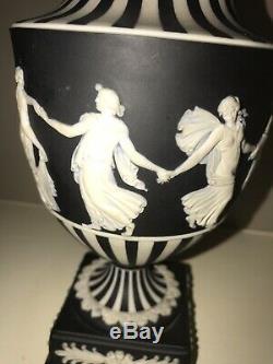 1961 Wedgwood Jasperware Black Dancing Hours Pedestal Vase