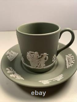 1963 Vintage WEDGWOOD Sage Green 6Cups, 6Sauce, 1Cup, 1 Cigarette Holder 2Tray