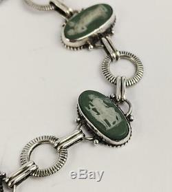19th Century Wedgwood Jasperware Plaques Sterling Silver Bracelet