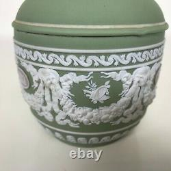19th Century Wedgwood Tri Color Jasperware Green White Lilac Cameo Covered Bowl