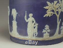 19th century Blue Wedgwood Jasperware Biscuit Jar with Silverplate Lid & Handle