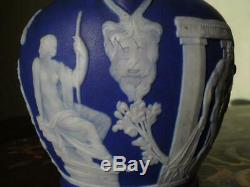 19th century Wedgwood Blue Jasperware'Portland' Vase 13cm high