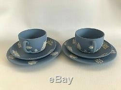2 Blue Wedgwood jasperware Tea Cup/Saucer/ Side plate in excellent condition