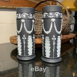 2 RARE 19th Century Wedgwood White on Black Jasperware Acanthus Spill Vases