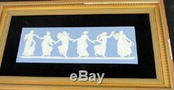 2 Vintage Wedgwood Blue Jasperware Framed Dancing Hours Plaques
