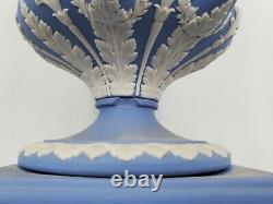 20th C Wedgwood Jasperware White / Lavender Campana Pedestal Urn Vase & Cover