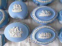 22 x Wedgwood Classic White on Pale Blue Jasperware Trinket Boxes & Covers