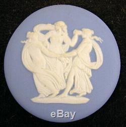 3 Framed Wedgwood White on Blue Jasperware Round Plaques Medallions Horses