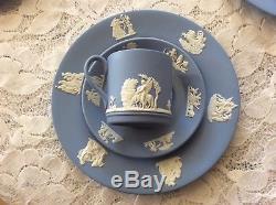 30 PIECE Wedgwood England Blue and White Jasperware Tea Set