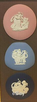 35% OFF THREE Framed Wedgwood Cobalt, Blue, Pink Jasperware Plaques Medallions