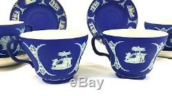 4 Antique Wedgwood dark blue jasper ware jasperware cups&saucers