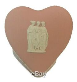 40% OFF Rare Wedgwood Pink Jasperware Three Nympths Heart Covered Trinket Box