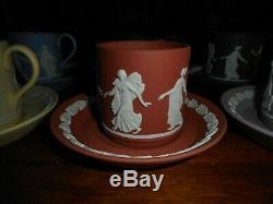 6 Wedgwood DANCING HOURS Jasperware Demitasse Cup & Saucer Sets Violet +colors