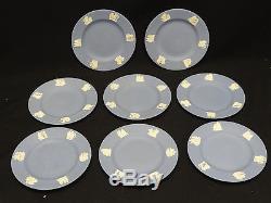 8 pcs VINTAGE 1950s WEDGWOOD BLUE JASPERWARE PLATES 6 5/8
