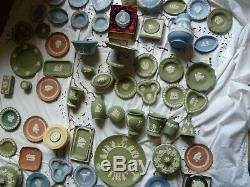 90 PIECES OF WEDGWOOD JASPERWARE Blue Green black pink Vases allsorts joblot
