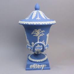 A Fine Wedgwood Twin Handled Campana Form Pedestal Blue Jasper Ware Vase