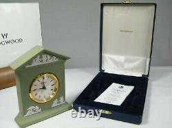 A superb Wedgwood Green Jasper Ware Grecian Mantel Clock in Silk Box!