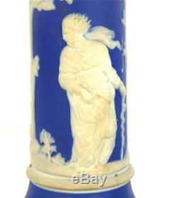 ANTIQUE 19TH CENTURY WEDGWOOD DARK BLUE DIP JASPERWARE CANDLESTICKS 9 22.5cm