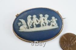 ANTIQUE ENGLISH 9ct GOLD WEDGWOOD BLUE JASPERWARE CHERUBS CAMEO BROOCH c1900