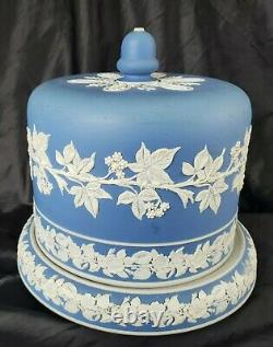 ANTIQUE WEDGWOOD BLUE JASPERWARE CAKE/CHEESE DOME withSTAND 1800 RARE