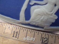 ANTIQUE WEDGWOOD DARK BLUE JASPERWARE SALAD BOWL & PAIR of SERVERS -CIRCA 1920's