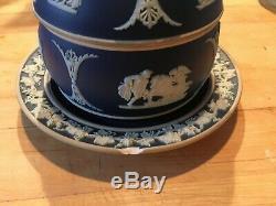 ANTIQUE WEDGWOOD JASPERWARE Dark BLUE Jam Jar/Plate with LID RARE C1900 Nice