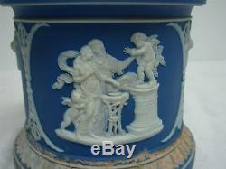 ANTIQUE WEDGWOOD w INITIALS DARK BLUE JASPERWARE JAR