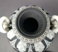 ANTIQUE Wedgwood Cobalt Black Basalt Dip Jasper Ware Dancing Hours 10 Urn w Lid