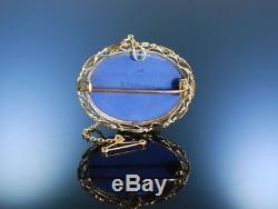 Antike Brosche Wedgwood Gold Blue Jasper Ware Porzellan England Um 1885 Brooch