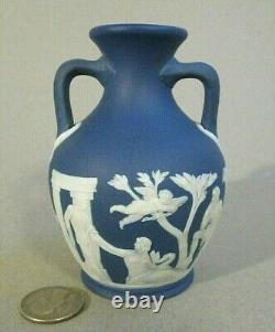 Antique 1840s Old WEDGWOOD ONLY Jasperware PORTLAND VASE Dark Blue 4 Miniature