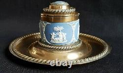 Antique 1864 Victorian Wedgwood Jasperware & Brass Inkwell G Betjemann & Sons