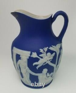 Antique 1864 Wedgwood (only) Cobalt Blue Jasperware Portland Pitcher Jug 5-3/8