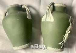 Antique 1880 Thomas Wedgwood Green Jasperware Grecian Urn Vases Extremely Rare