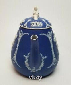 Antique 19th C Wedgwood Blue Jasper Jasperware Teapot SYBIL Finial WEEPING WIDOW