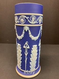 Antique 19th C. Wedgwood Dark Blue Jasperware Barber Bottle 7 Tall