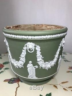 Antique 19th Century Wedgewood Jasperware Sage Green Large Jardiniere Planter