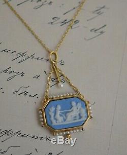 Antique 19th Century Wedgwood Jasperware Plaque Pearls and 18k Gold Pedant