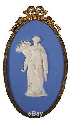 Antique 5 1/4 Blue Wedgwood Plaque Classical Woman Goddess