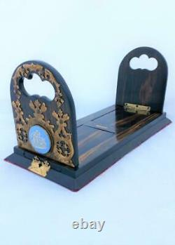 Antique Betjemann's Patent Bookslide Coromandel Wood Brass Jasperware Plaques