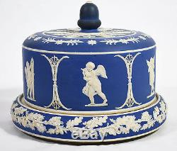 Antique Blue Cobalt Jasperware Cheese Dome & Liner Cupid Cherub Motif Wedgwood